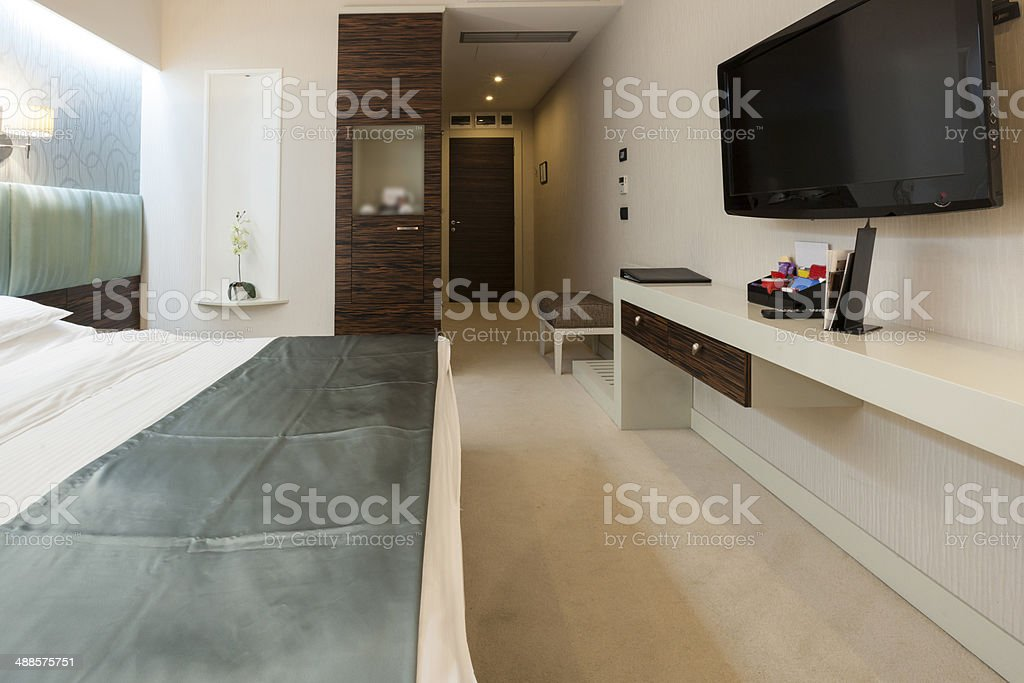 Double bed hotel room royalty-free stock photo