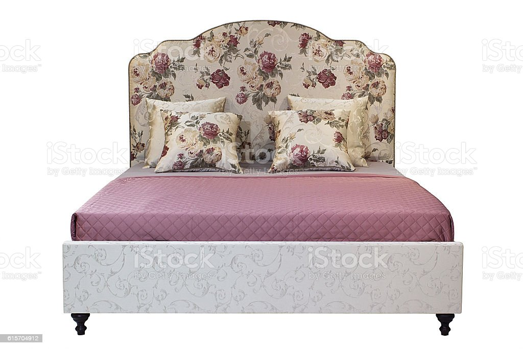 Double bed isolated over white stock photo