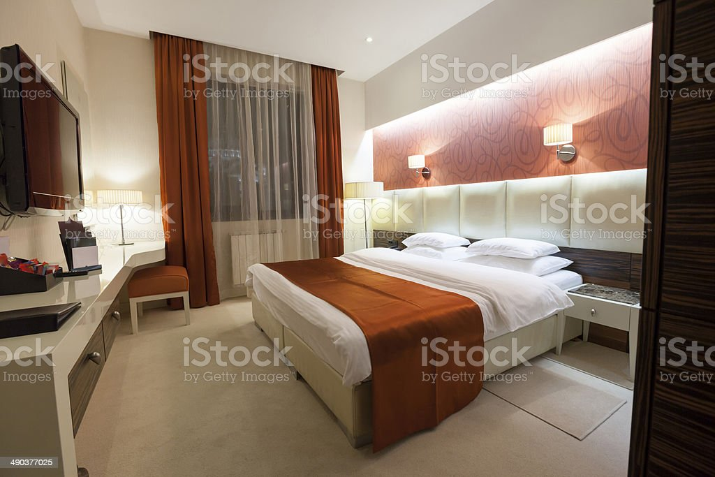 Double bed luxury hotel room royalty-free stock photo