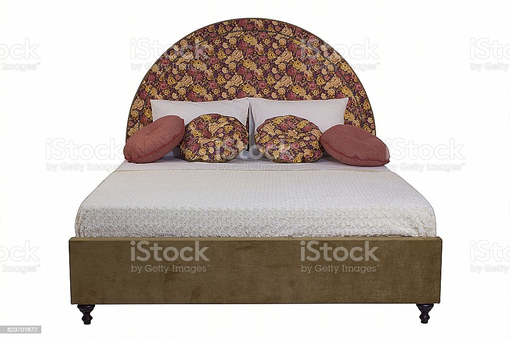 Double bed on a white background stock photo