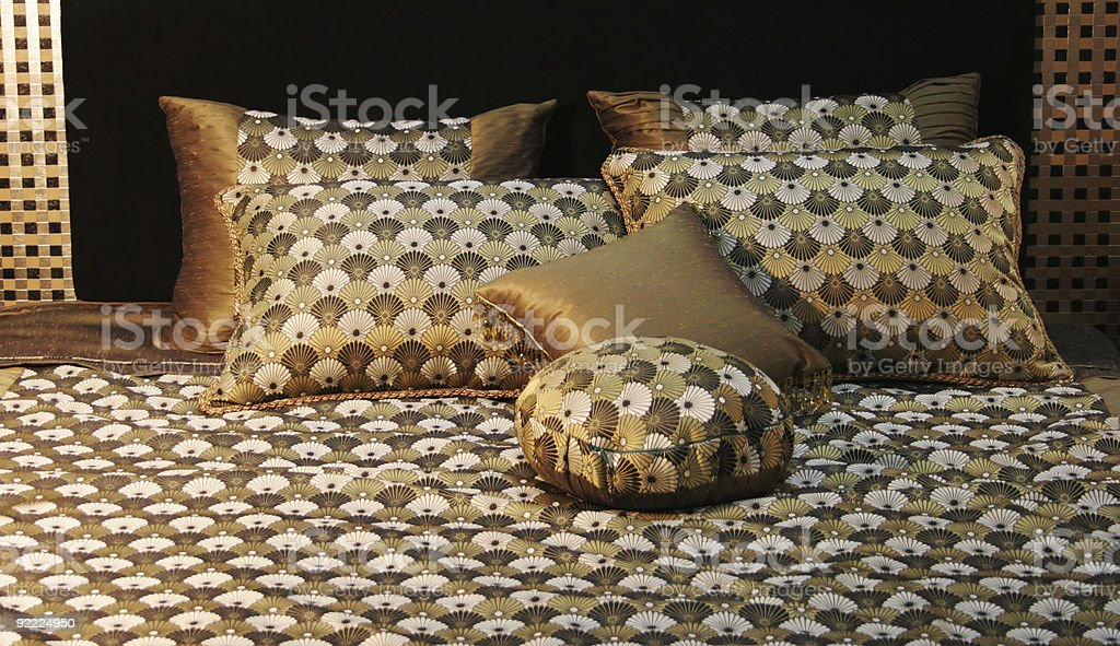 Double bed with beautiful linen royalty-free stock photo