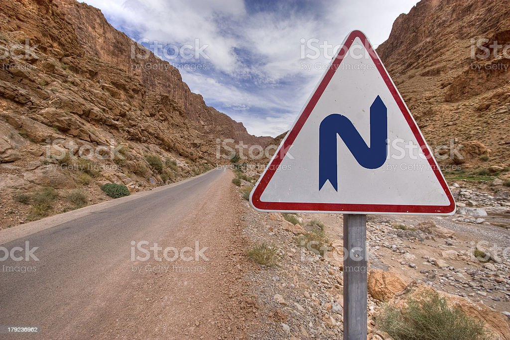 double bend sign stock photo