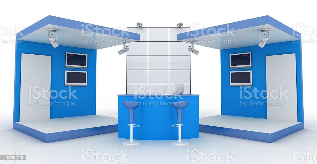 Double blue kiosk stock photo
