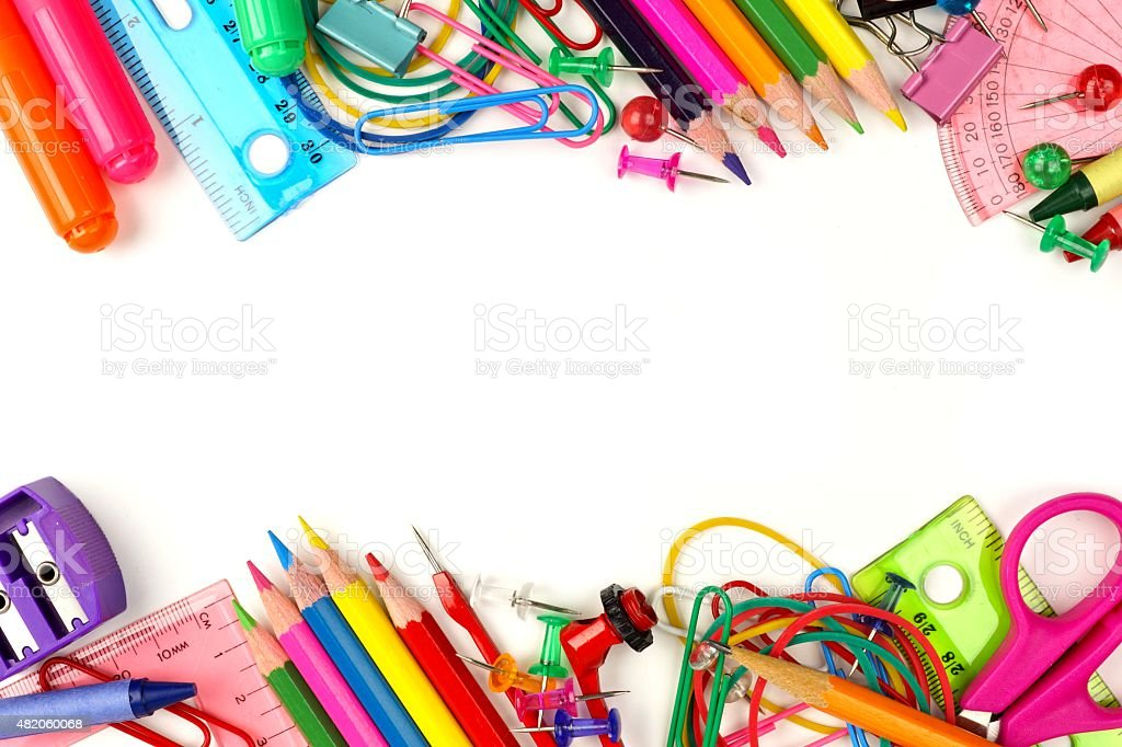 Double border of school supplies over white stock photo