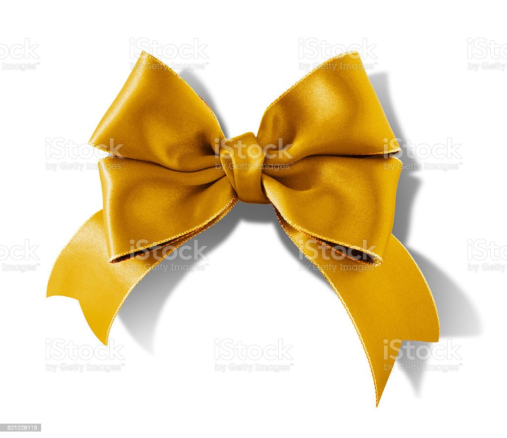 Double bow gold ribbon isolated on white background stock photo