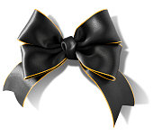Double bow gold rimmed black ribbon with clipping path