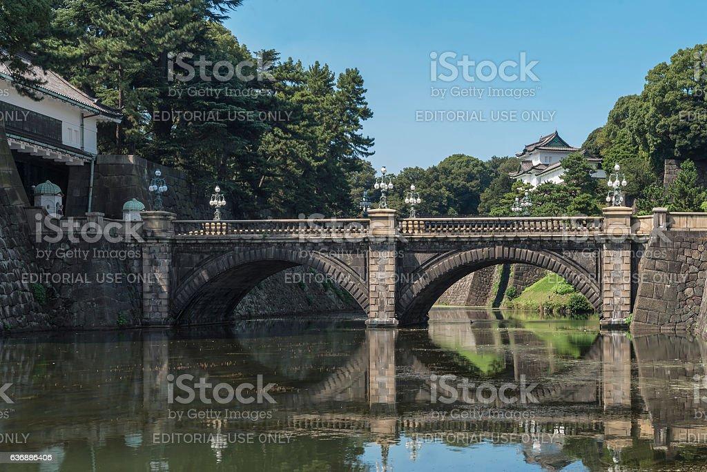 Double bridge, Nijubashi, Tokyo Imperial Palace stock photo