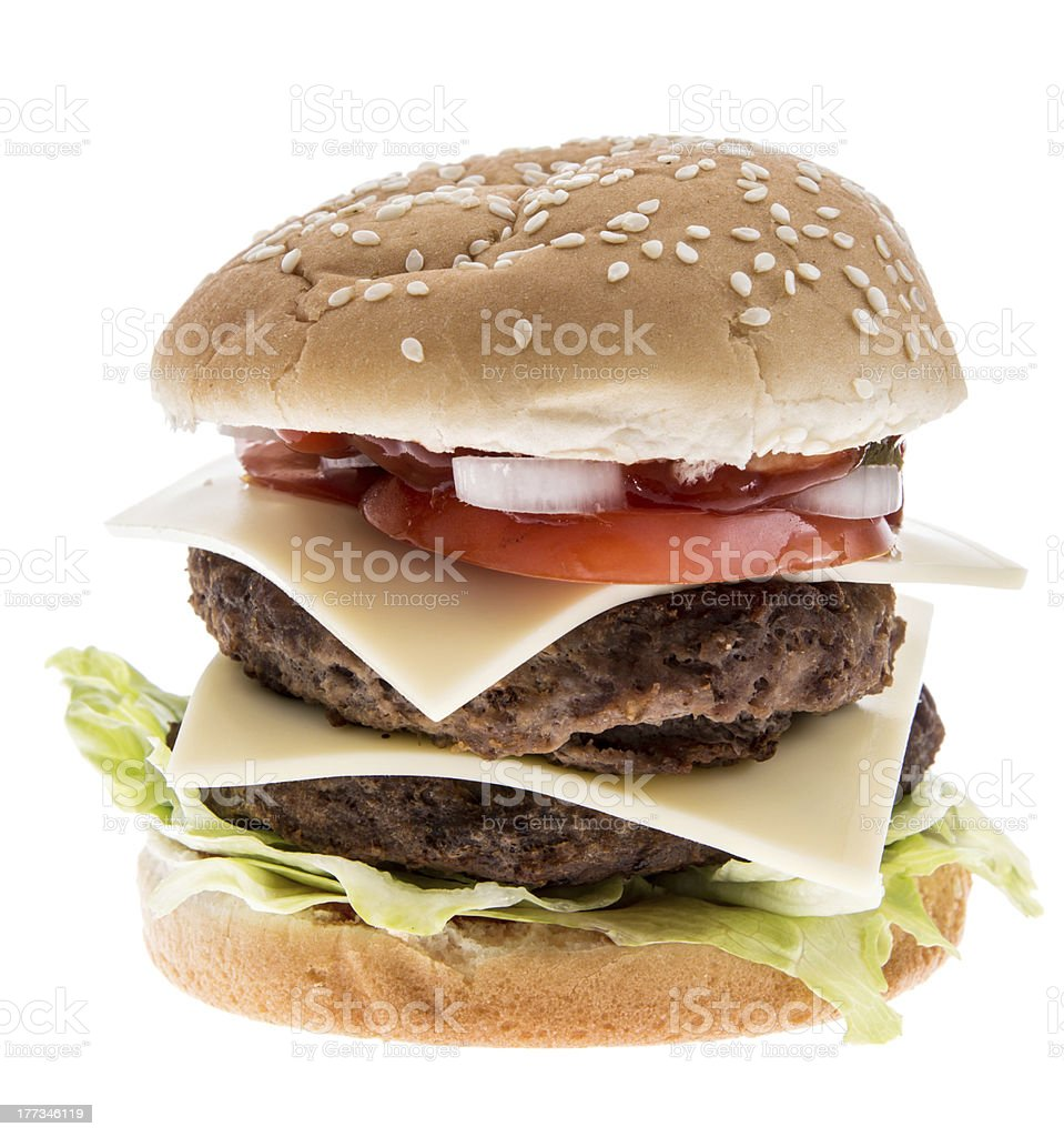 Double Burger isolated on white royalty-free stock photo