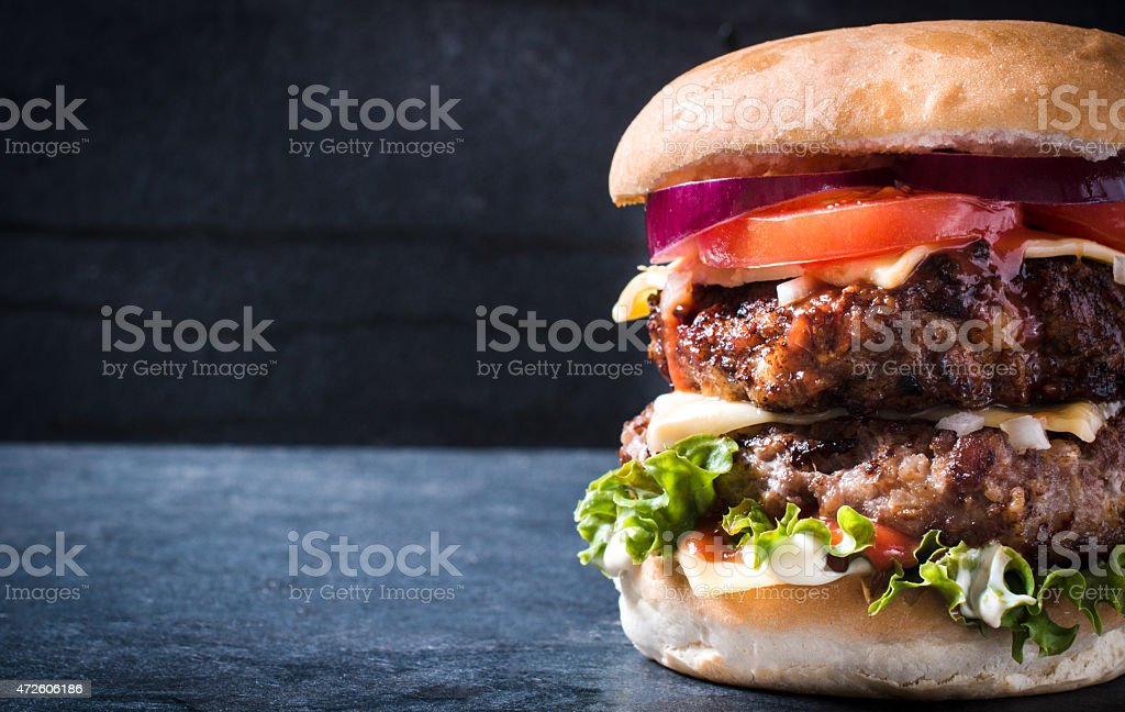 Double burger stock photo