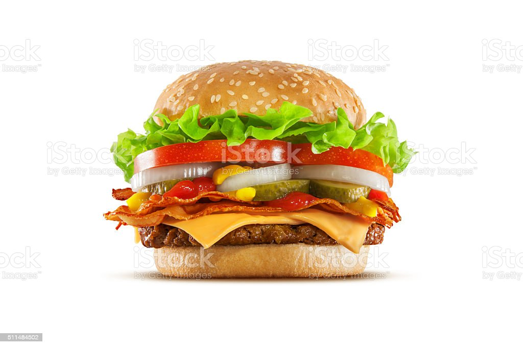 Double Cheese and Bacon Cheeseburger stock photo