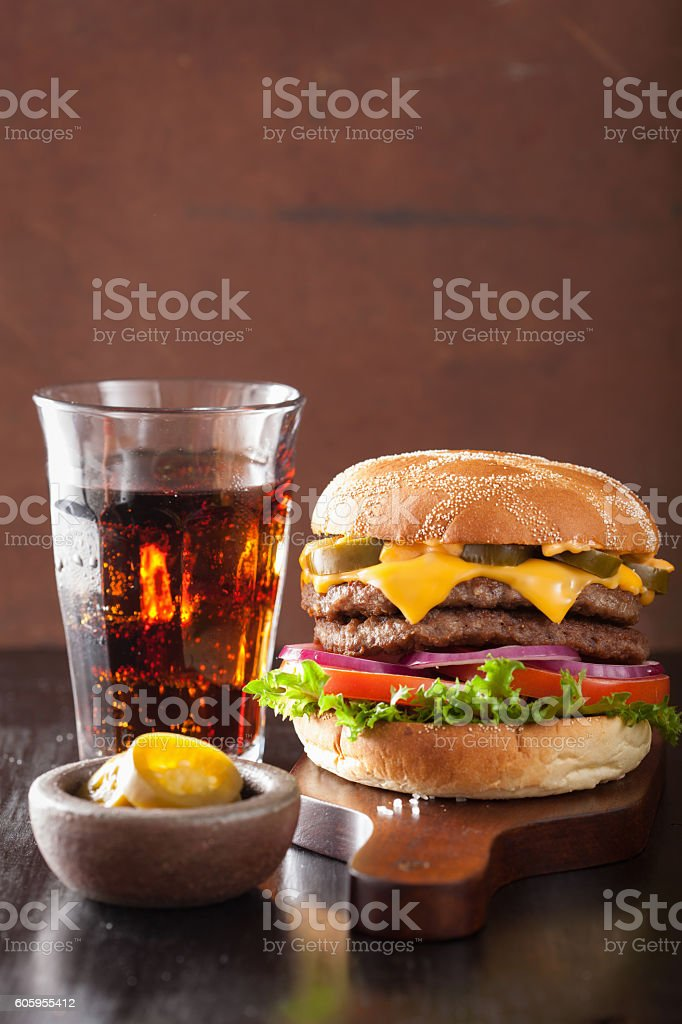 double cheese burger with jalapeno tomato onion stock photo
