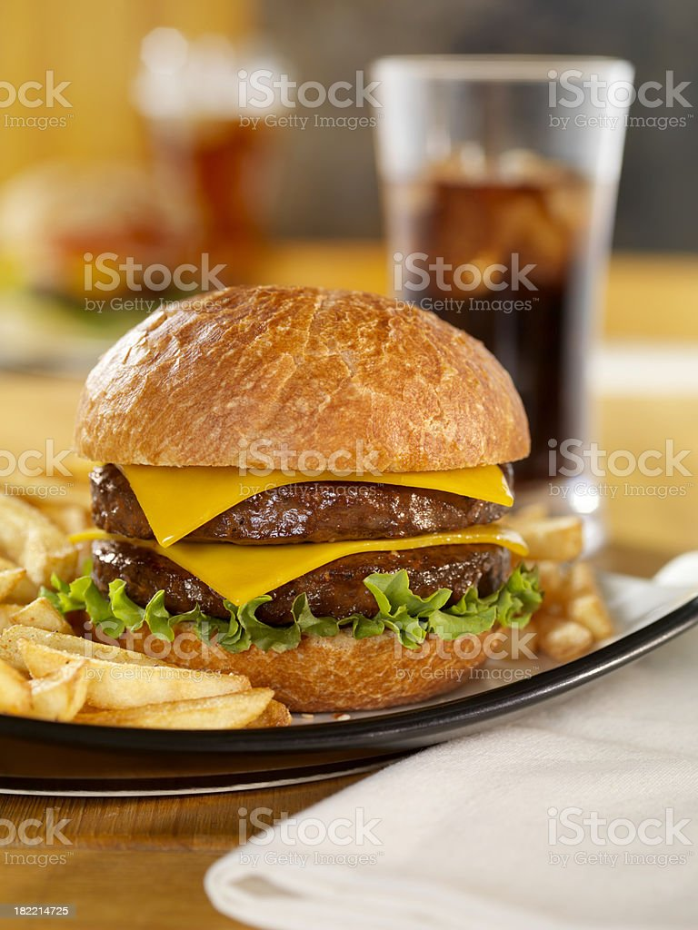 Double Cheeseburger with a Cola stock photo