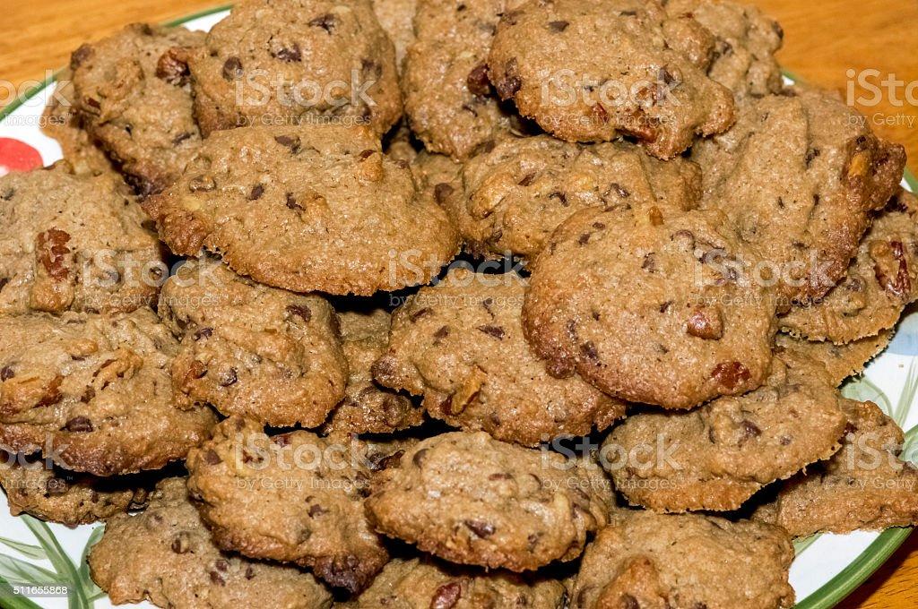 Double Chocolate and Walnut Raisin Cookies stock photo