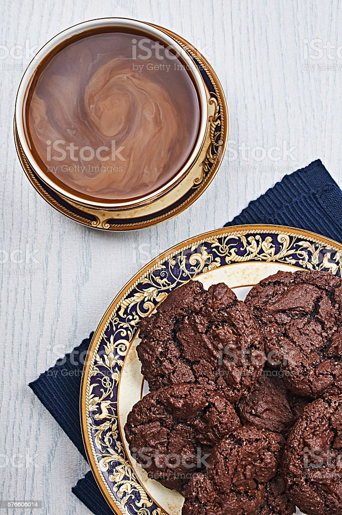 Double Chocolate Cookies With Coffee stock photo