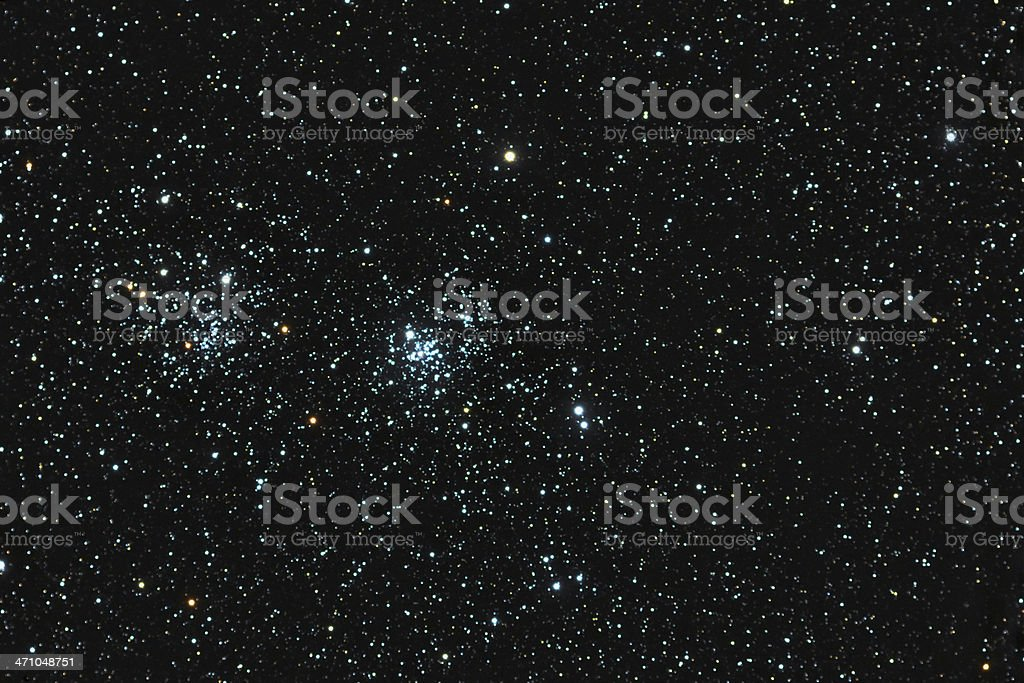 Double Cluster in Perseus royalty-free stock photo
