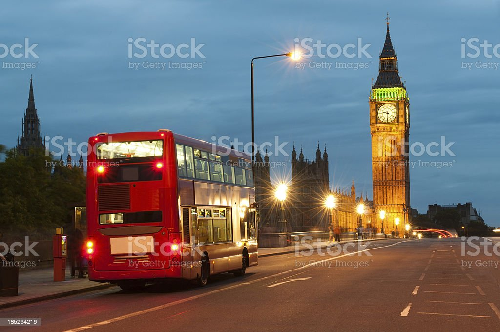 Double decker and Big Ben, London royalty-free stock photo