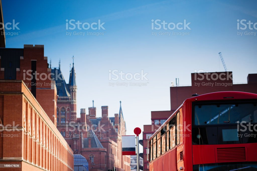 Double Decker Bus and St. Pancras, London stock photo
