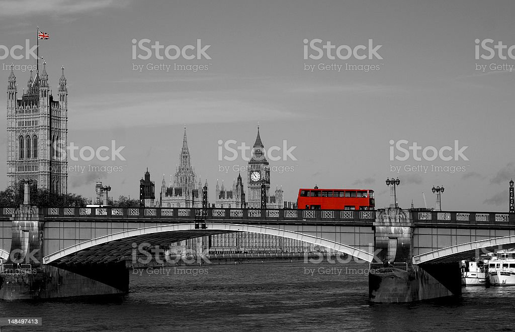 Double decker bus crossing Thames - London stock photo