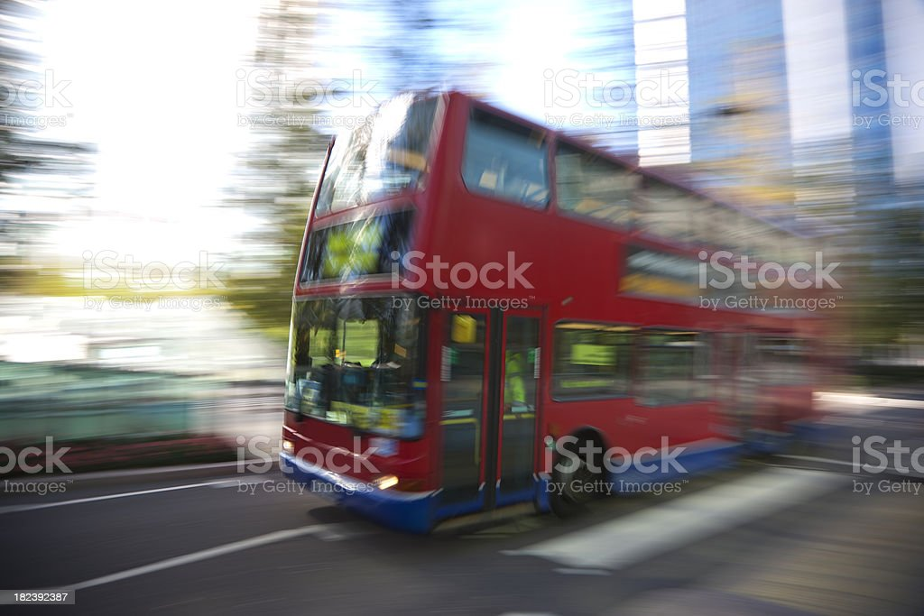 Double decker bus in London, blurred motion royalty-free stock photo