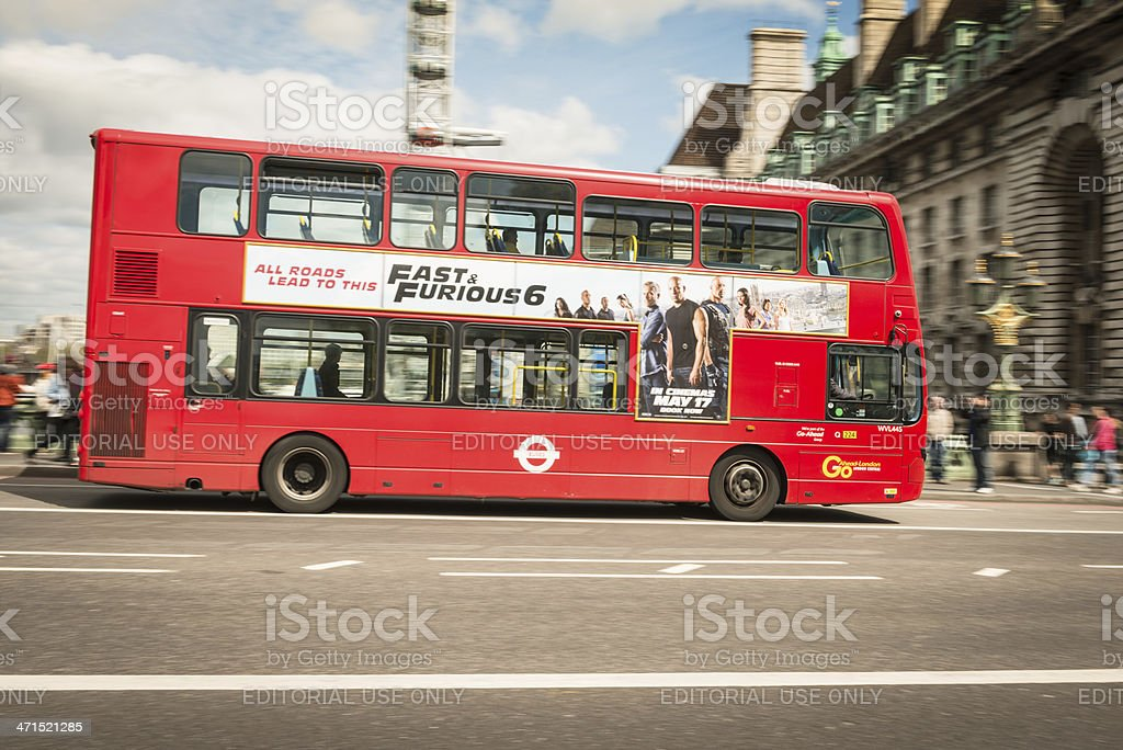 double decker bus panning on the london street royalty-free stock photo