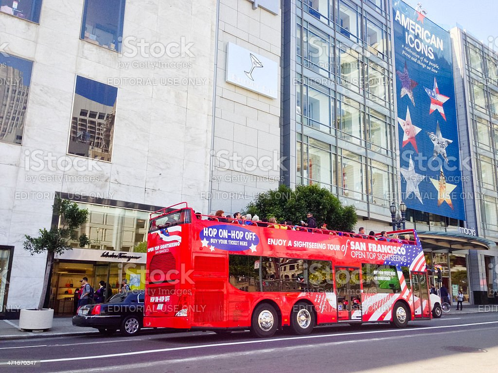 Double Decker Tour Bus in San Francisco stock photo
