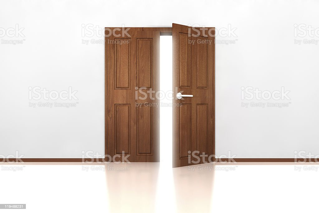 Double Door Half Open stock photo