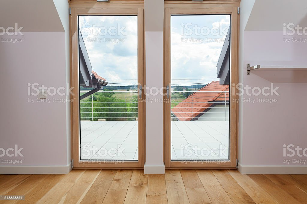 Double door to a terrace stock photo