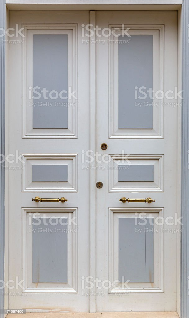 Double door to the house stock photo