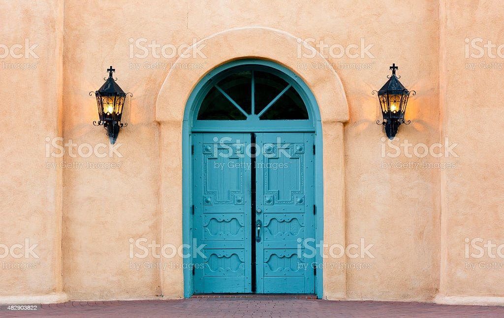 Double doors of San Felipe de Neri church in Albuquerque stock photo