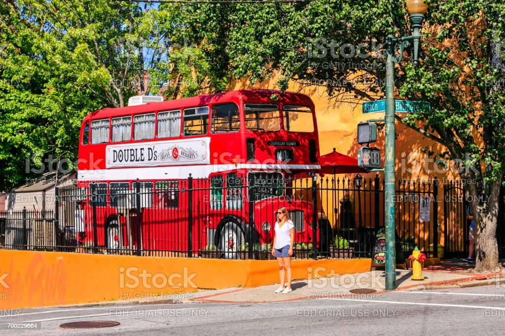 Double D's British Red London bus pub in Asheville NC, USA stock photo