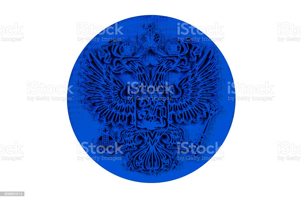 Double eagle on a rubber stamp stock photo
