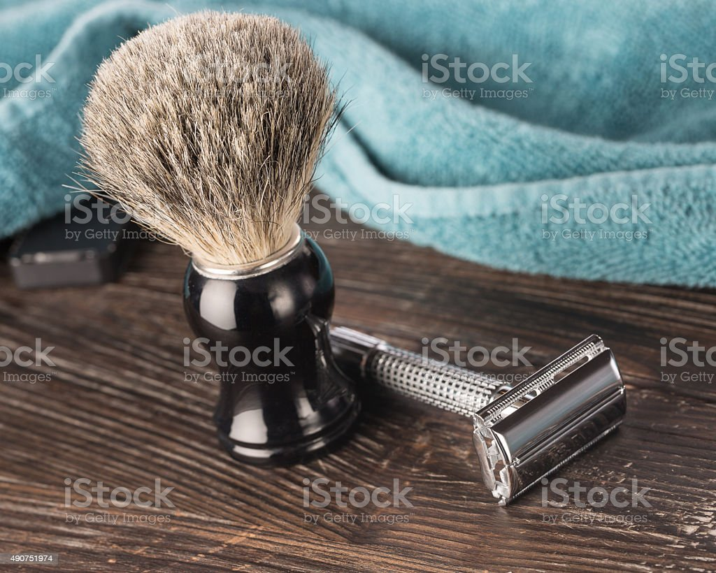Double edged razor in bathroom setting for a wet shave stock photo