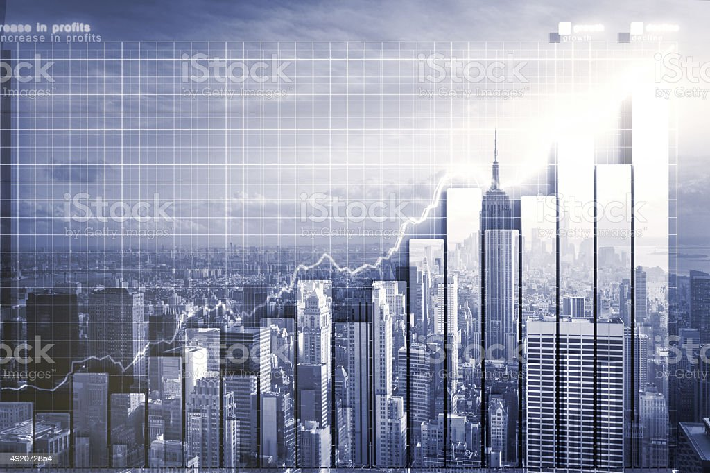 Double explosure with business chart and skyline vector art illustration