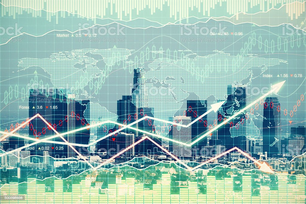Double explosure with business graph with arrows and financial c stock photo