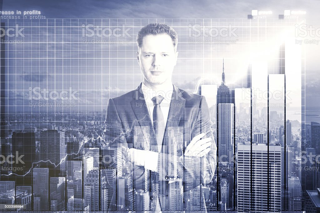 Double explosure with businessman and city view with business ch stock photo