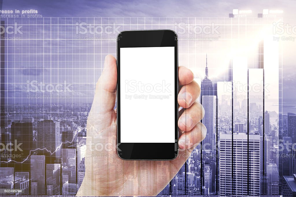 Double explosure with man hand with blank smartphone and city stock photo