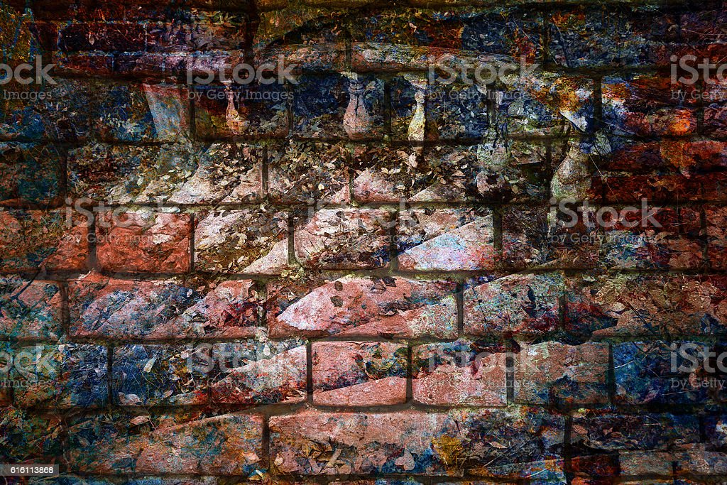 double exposure - Brick wall and marble staircase stock photo