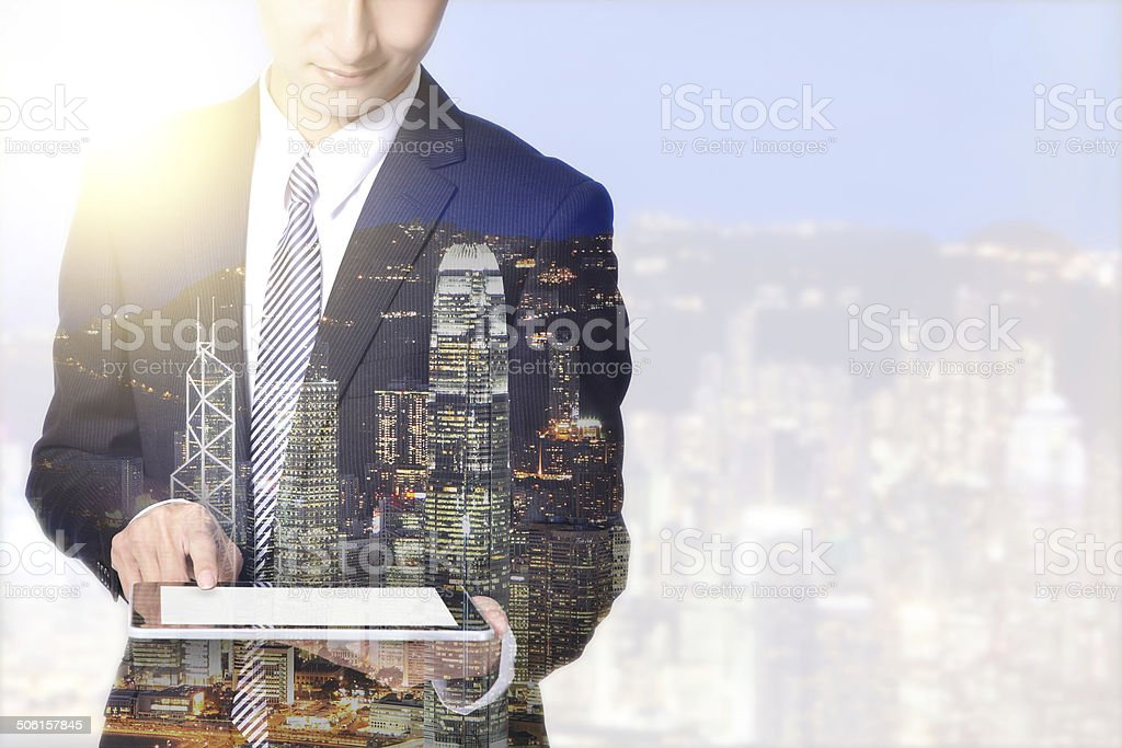 double exposure business man and city stock photo