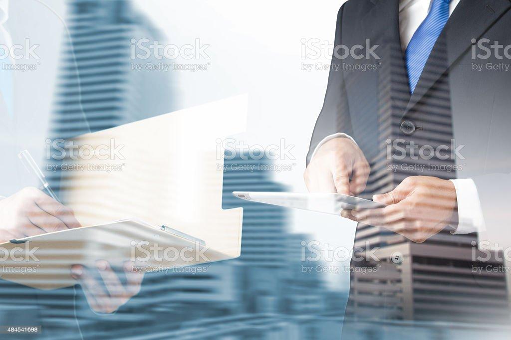 double exposure business man stock photo