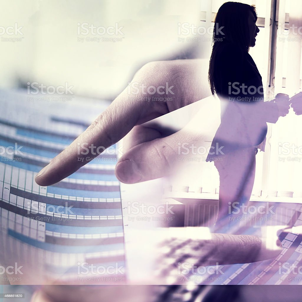 Double exposure business people stock photo