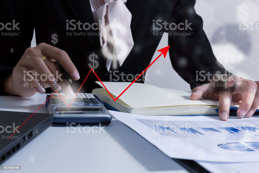 Double exposure business people working at office. Stock markets financial or Investment strategy background Business chart concept stock photo