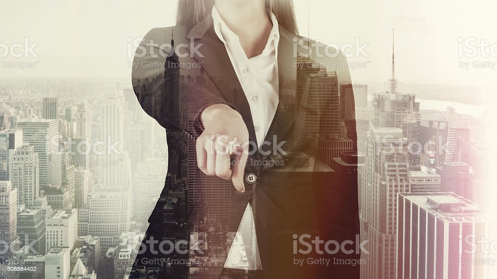 Double Exposure Business Woman And City stock photo