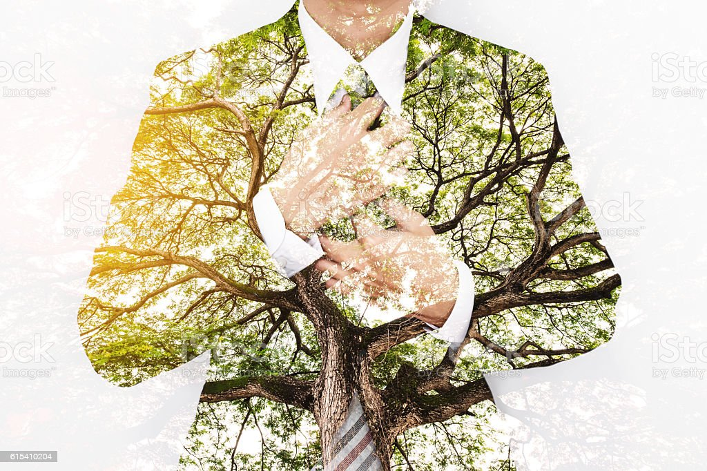 Double Exposure Businessman in Suit with Big Tree stock photo