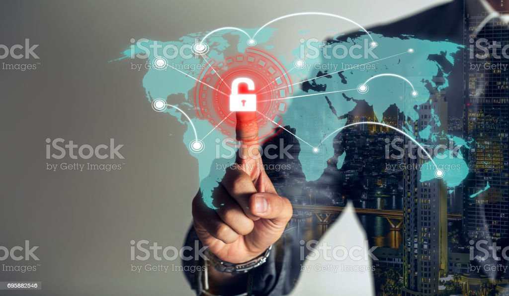 double exposure, businessman is touching scan identity to open hologram and unlock data online global to link viral information, cybersecurity technology background. stock photo