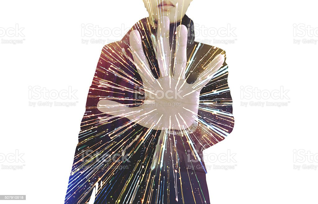 Double exposure, businessman showing palm, with speed light motion, isolated stock photo