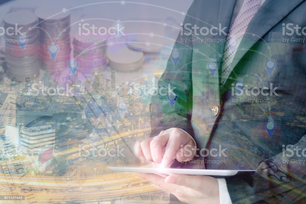 Double exposure businessman with modern visual technology. stock photo