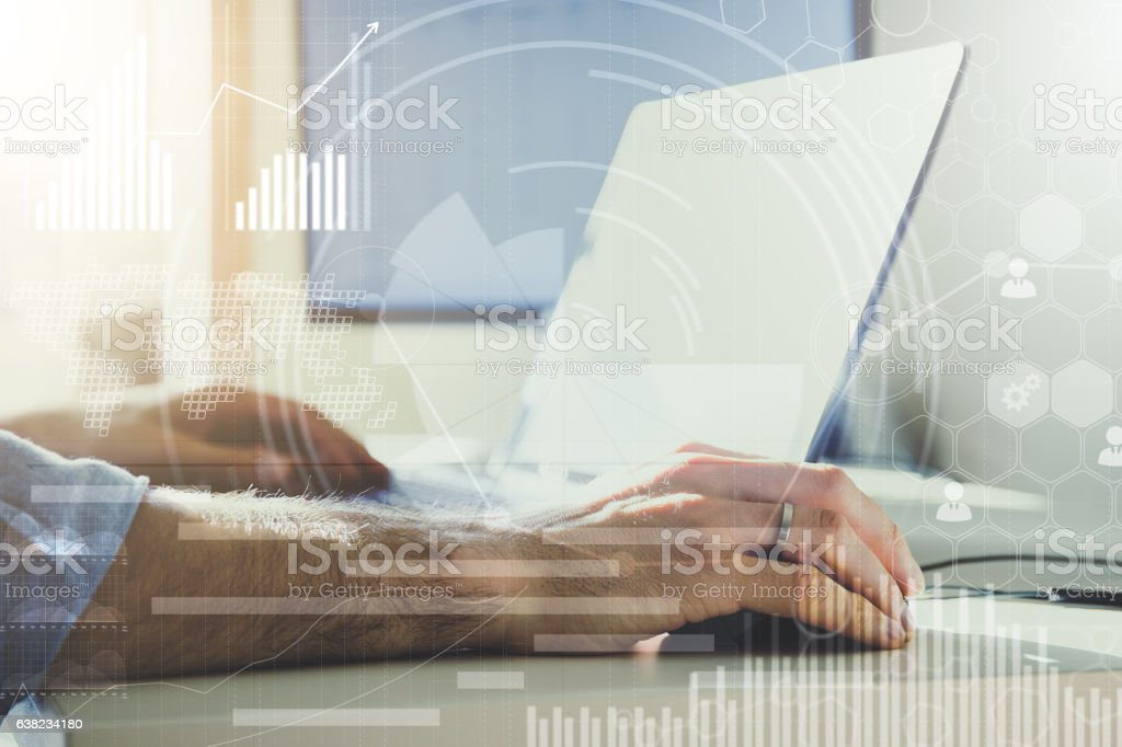 Double exposure. businessman working in modern office with modern technology. stock photo