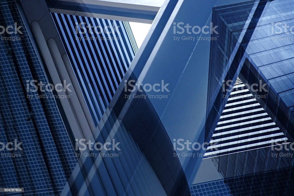 Double exposure close-up of architectural fragment with complex geometric structure stock photo