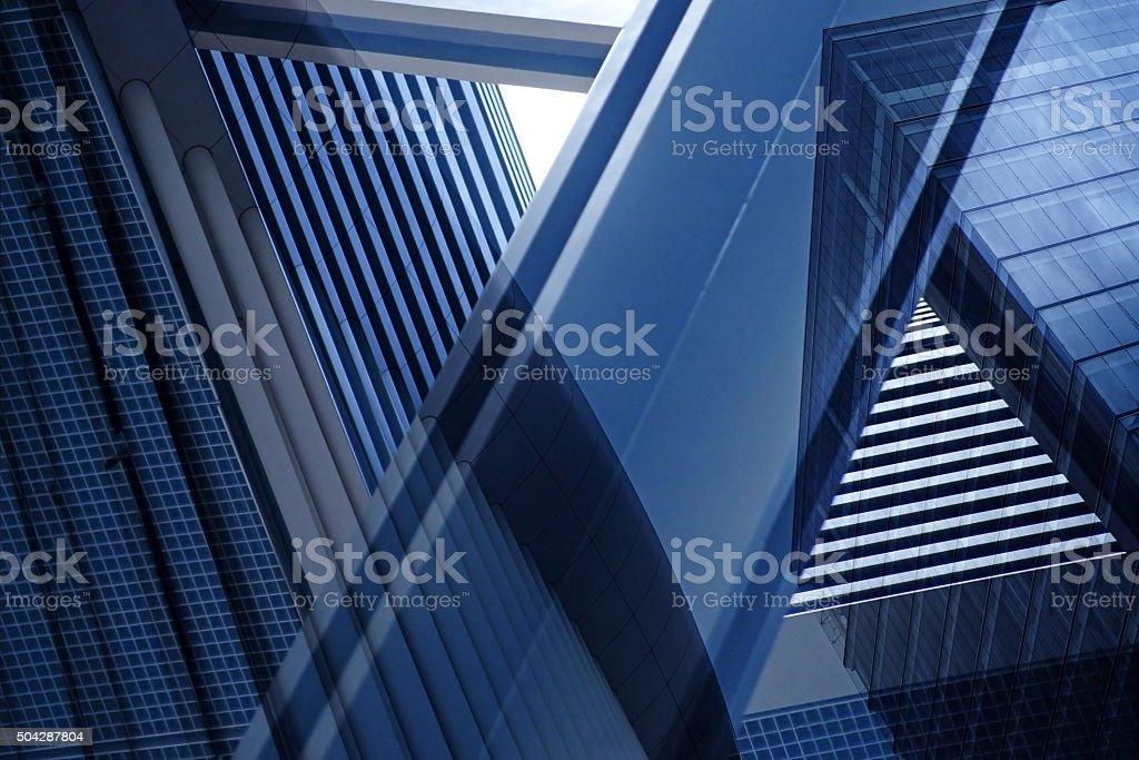 Doppelbelichtung Nahaufnahme der architektonischen führen zu einer Fragmentierung mit komplexen geometrischen Struktur – Foto