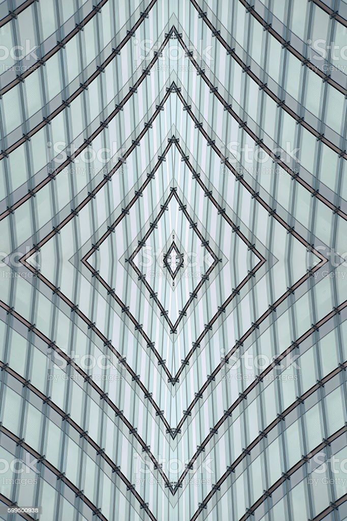 Double exposure close-up photo of structural glass ceiling / roof stock photo
